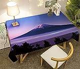 Mantel Antimanchas Rectangular Protector de Mesa Lavable Impermeable Manteles 140X180Cm Mantel Rectangular Adecuado para La decoración de La Cocina - Cielo Púrpura, Montaña Nevada