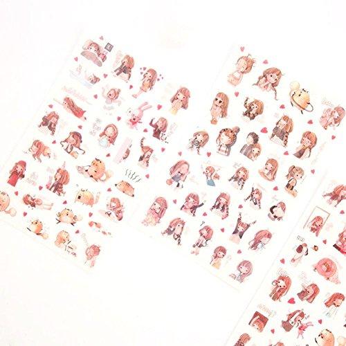 Holo Cute Netter Karikaturmädchen Tagebuch Album Papier Aufkleber