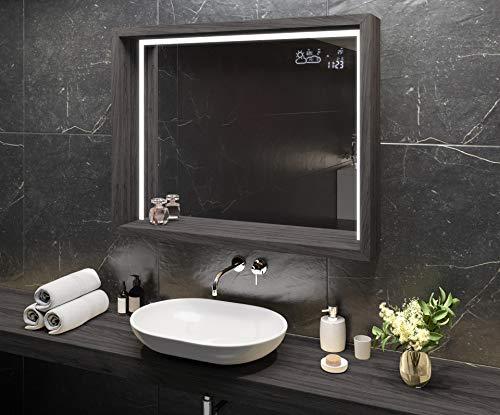 Artforma Espejo de Baño con Iluminación LED 100x80 cm con Estante y Marco - Luz Espejo de Pared con Accesorios - Diferentes tamaños | Olmo de Alfalfa