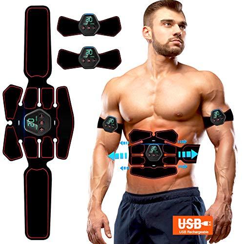EMS Bauchmuskeltrainer USB Wiederaufladbar Elektromuskelstimulation Trainingsgerät Elektronische Muskelstimulation Muskelstimulator für Herren Damen zur Muskelaufbau