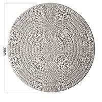 BINGFANG-W プレースマットパッドコースターキッチンテーブルマットコットンニットボウルマットパディングマット絶縁パッドラウンドプレースマット手作り 贈り物 (Color : Dark gray 30cm40cm)