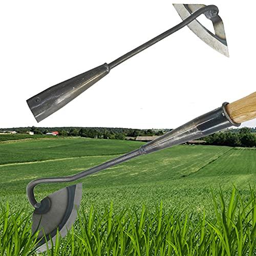 3Typen Ganzstahl-gehärtete Hohlhacke Gartenarbeit zum Lösen von Bodenwerkzeug, Gartenhacke, Hand-Unkrautrechen, Unkraut-Sichel-Gartenwerkzeug (C)