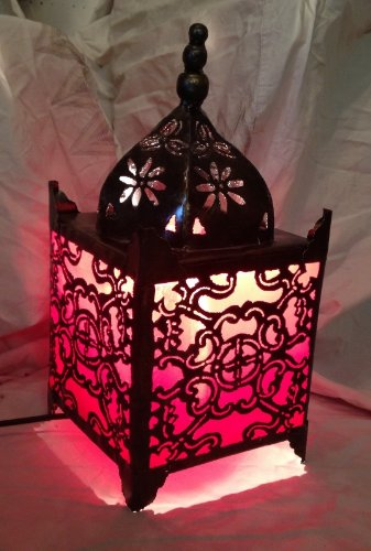 Tempio Table Lamp – Moroccan stile metallo Lamp Red (Wilde mtl15r/XS) by Ginger Interiors