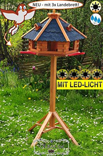 BTV-Ölbaum Vogel-Futterhaus mit Landebahn + LED - Beleuchtung/Licht und Bitumendach, Premium MASSIVHOLZ,wetterfest, mit Ständer/mit Standfuß und Silo,Futtersilo für Winterfütterung