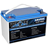 Weize Liftepo4 12V 100AH Battery, Lithium Iron Phosphate Built in BMS Deep Cycle Lightweight, for RV VAN Boat Marine Off-Grid Solar System