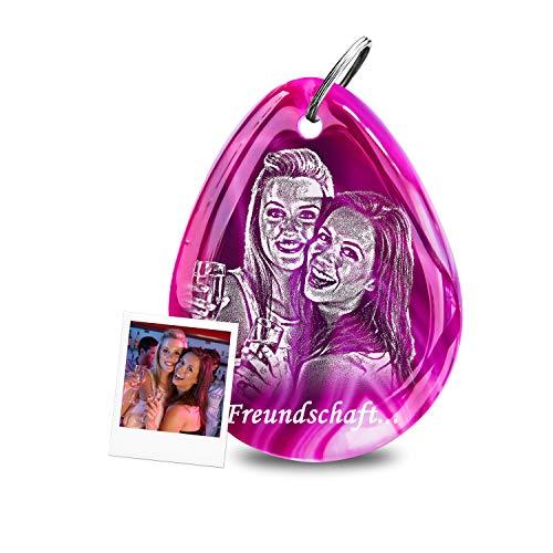 my-Pebbles: Edelstein als personalisierter Schlüsselanhänger mit Fotogravur als Geschenk für Freundin, den besten Freund oder Beste Freunde - gravierte Fotogeschenke | Pebble 2 Go Achat Purple Rain