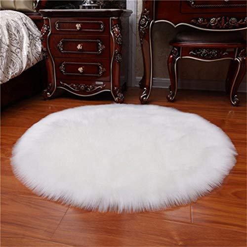 Miwaimao 1 Bedroom Imitation Wool Carpet Cushion Pad Warm Wool Artificial Fur Seat Cushion Sofa Office Carpet Area Rugs,White,90x90cm