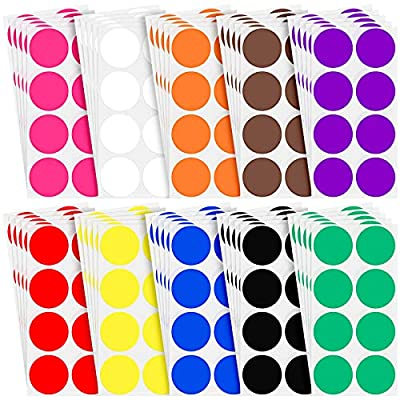 2 Inch Round Color Coding Sticker 10 Assorted C...