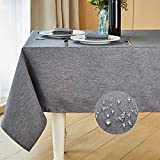 Mebakuk Rectangle Table Cloth Linen Farmhouse Tablecloth Waterproof Anti-Shrink Soft and Wrinkle Resistant Decorative Fabric Table Cover for Kitchen (Oblong 52 x 70 Inch (4-6 Seats), Dark Grey)