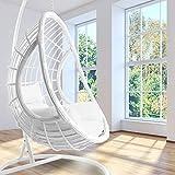 Kideo - Set completo: poltrona sospesa bianca con telaio e cuscino, poltrona a dondolo, in rattan sintetico, mobili lounge, colore: Bianco