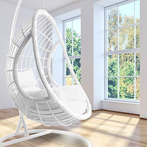 Kideo - Set completo: poltrona sospesa bianca con telaio e cuscino, poltrona a dondolo, in rattan sintetico, mobili lounge,...