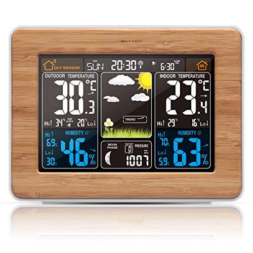 VORRINC Funkwetterstation mit Außensensor Innen und Weckfunktion/Temperatur/Barometer/Wecker/Feuchte/Mondphase/Uhr
