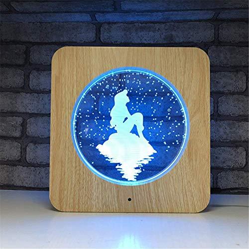 Illusion LED Lampe 3D 7 couleurs Illusion d'optique Cadre photo en bois acrylique en bois Veilleuse avec veilleuse avec télécommande programmée et écran tactile pour table de bureau avec câble USB et