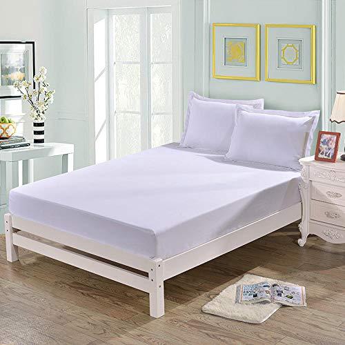 HPPSLT Protector de colchón, algodón, poliéster, Sábana cepillada Color sólido Antideslizante-Blanco Puro_180 * 200cm