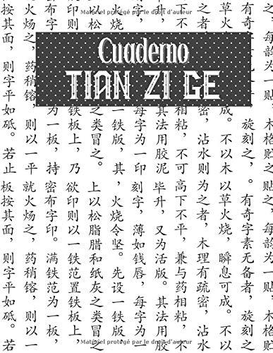 Cuaderno Tian Zi Ge: Cuaderno de ejercicios de caligrafía | Diario de ejercicios de escritura de caracteres chinos | Libro de papel de caligrafía | Entrenamiento de escritura en mandarín