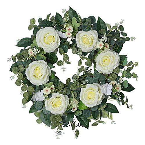 unknows Corona de flores de rosa blanca europea, 22 pulgadas de flores blancas europeas de rosa guirnalda floral artificial de primavera para la decoración de la puerta delantera corona de puerta