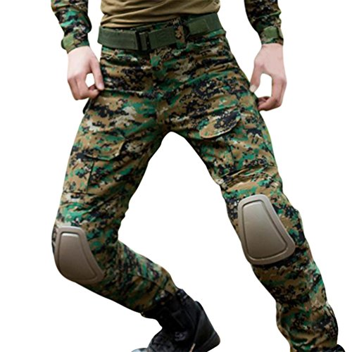 YuanDian Herren Frösche Schlank Passen Tarnung Airsoft Taktisch Militär T-Shirt Militärhose Sets Langarm Camo Armee Top + BW Feldhose Outdoor Camping Uniform Dschungel Digital Hose 28