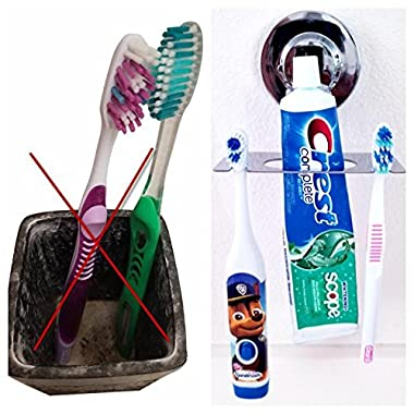 Toothbrush Holder SUCTION CUP, MIRROR, TILE, toothbrush holder WALL MOUNTED, toothbrush holder for bathroom, DOES NOT FALL bathroom organizer