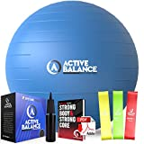 Active Balance Exercise Ball with Resistance Bands & Hand Pump – Premium Balance Ball for Fitness, Health, Relief & More – 55-cm No-Slip Stability Ball by Epitomie Fitness Blue by Epitomie Fitness