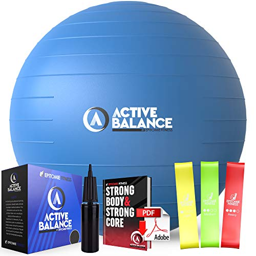Epitomie Fitness Active Balance Exercise Ball with Resistance Bands & Hand Pump – Premium Balance Ball for Fitness, Health, Relief & More – 65-cm...