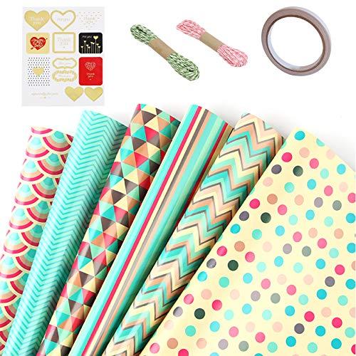 Set Di Carta Da Regalo, 6 Fogli Di Carta Da Regalo Multi Pattern Lattice Wave Dot Stripe Wrapping Paper Per Compleanno Wedding Party 70x50Cm