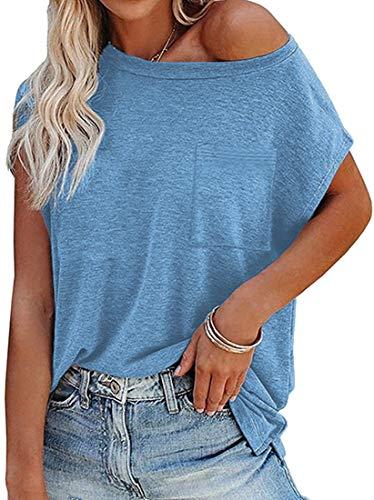 OLIPHEE Mujer Camiseta Cuello Redondo de Manga Corta con Hombros Descubiertos de Color sólido de Verano con Bolsillo Azul-2XL