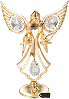 Matashi Guardian Angel Figurine Crystal Studded Ornament (Angel with Doves, Gold)