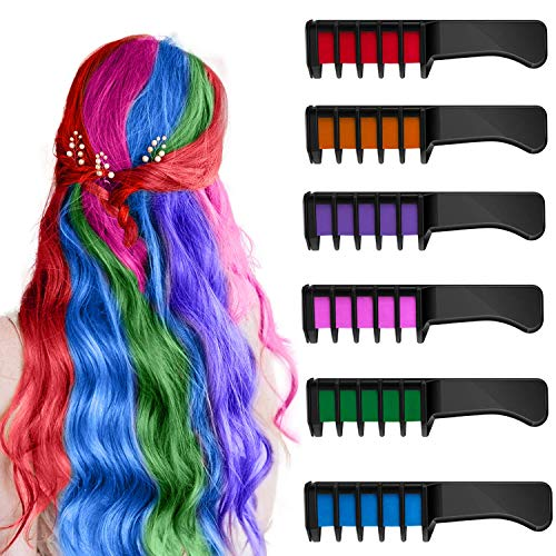 Hair Chalk Comb for Girls Kids Temporary Bright Hair Color Dye Washable, Gifts for 6 7 8 9 10 11 12 Year Old Girls Perfect for Lighter Hair, for New Year Birthday Cosplay Party Children's Day, 6 Color
