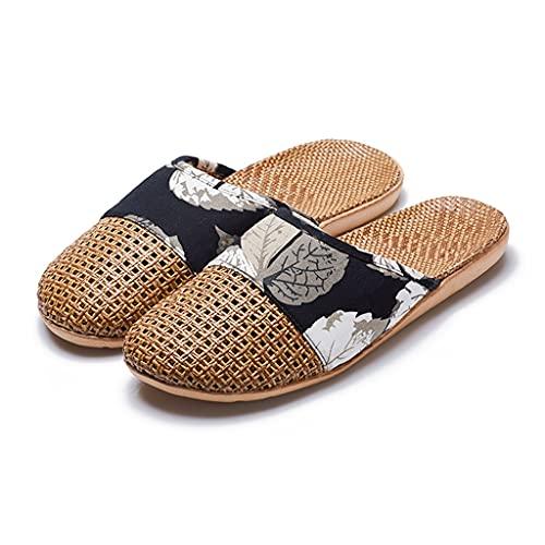 YXCKG Zapatillas De Verano Zapatillas De Casa para Mujer Soporte De Arco Zapatillas De Lino Ligeras, Zapatillas Tejidas con Hierba De Ratán, Zapatillas Transpirables Y Cómodas
