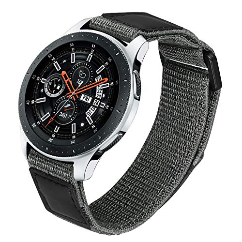 TRUMiRR Sostituzione per Galaxy Watch3 45mm/Galaxy Watch 46mm/Gear S3 Cinturino, 22mm Nylon Tessuto ad Anello & Cinturino in Vera Pelle Cinturino a sgancio rapido per Huawei Watch GT 2 46mm/Active