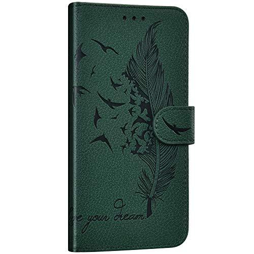 Saceebe Compatible avec Samsung Galaxy Note 10 Étui Housse en Cuir Portefeuille Coque Magnétique Flip Cover Fentes de Cartes Plume oiseau Motif Pochette Coque Protection avec à Rabat Stand,Vert