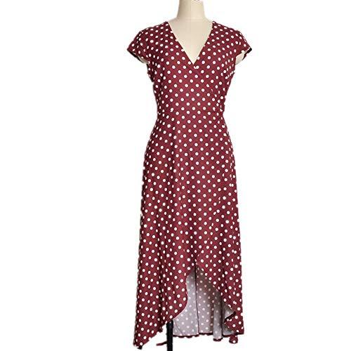 YHXY Damen Button Split Polka Dot Flowy Party Langes Kleid
