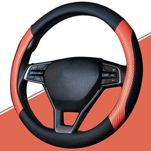 Pahajim Lenkradhülle Anti Rutsch Atmungsaktiv Lenkrad Abdeckung Lenkradbezug aus Mikrofaser-Leder 38cm komfortabel Auto Lenkrad Bezuege (Schwarz-Orange)