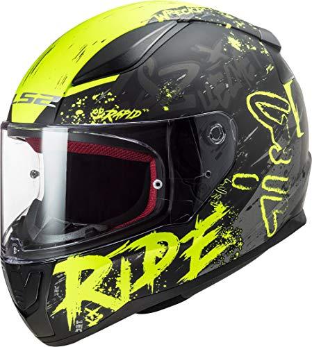 LS2 Herren NC Motorrad Helm, Schwarz/Gelb, L