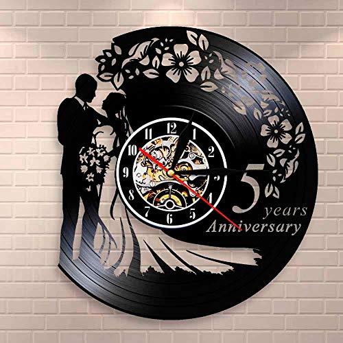 Reloj de pared de vinilo para aniversario de 5 años, para boda, matrimonio, boda, hecho a mano, decoración de sala de estar, regalo de boda para esposa y marido