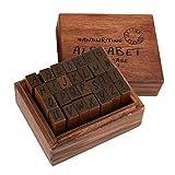 Sello de la carta y Sellos de Símbolo, 28pcs juego de sellos de madera vintage con estuche de almacenamiento para hacer tarjetas de bricolaje y Scrapbooking