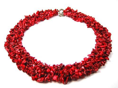 Halskette Collier aus roter Koralle in Splitterform mehrreihig aufgezogen L-46 cm