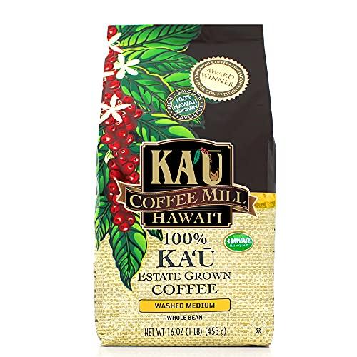 Washed Medium Whole Bean Ka'u Coffee (16 Ounce), 100% Hawaiian Award Winning Coffee by Ka`u Coffee Mill