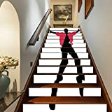 Marteylink Elvis Presley Decor Staircase Stickers,American Artist King Icon Blues Performer Singer Silhouette Self-Adhesive Wall Stair Stickers Mural Wallpaper for Home Decor,39.3'x7'x13PCS