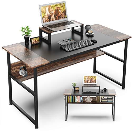 Nisear Schreibtisch aus Stahl & Holz, Computertisch Bürotisch mit Computerständer, Officetisch Arbeitstisch für Arbeit/Gaming/Homeoffice, modern & einfach