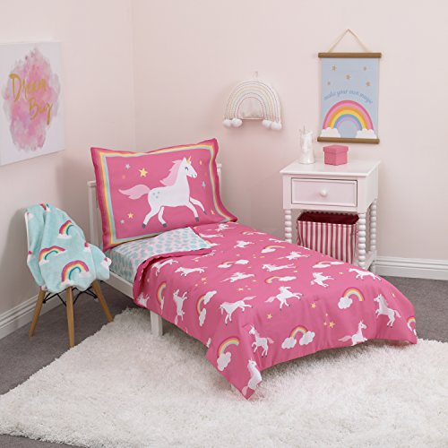 Carter's Rainbow Unicorn 4 Piece Toddler Bedding Set, Pink, Aqua, White