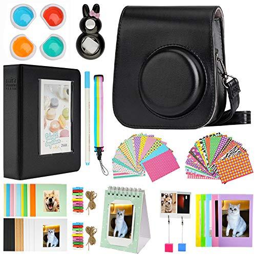 Cpano Mini 11 Paquetes de Accesorios de cámara para FujiFilm Instax Mini 11 con Estuche de cámara/álbum de Libro/Selfie len/Marcos para Colgar en la Pared/Pegatinas/lápiz(13 en 1 (Negro)