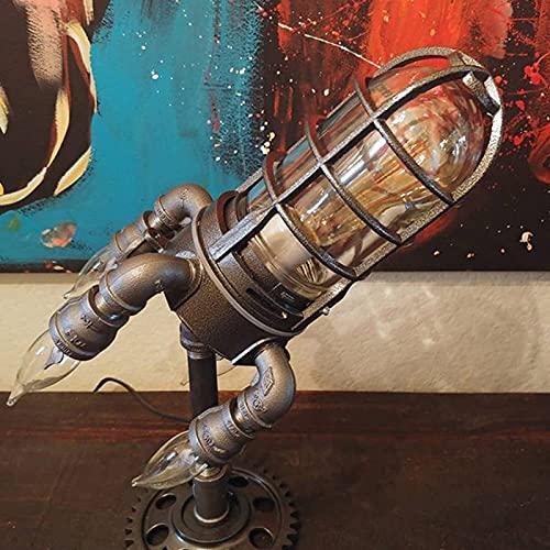 AHURGND Lámpara de Mesa de Estilo de Steampunk, lámpara de Escritorio de tubería Industrial Steampunk Steampunk con Parpadeo de Llamas Cohete Booster Night Light Día de los Padres