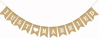 JUST Married Burlap Banner Marriage, Bride Party, Love Heart,Wedding Party Decoration 5.1X7.1inch(Just Married)