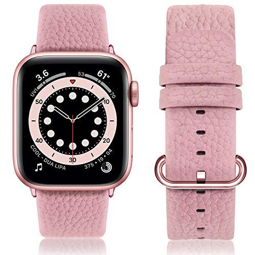 Fullmosa Compatible Correa Apple Watch 38mm serie 3 Cuero,para 14 Colores Correa iWatch SE/Apple Watch 6/5/4/3/2/1 Nike+ Hermes&Edition, Rosa suave + Hebilla oro pulido, 38mm