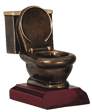 Decade Awards Toilet Bowl Trophy - Last Place Loser Award - Golden Throne Prize - 5 Inch Tall - Engraved Plate on Request