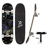 Colmanda Skateboard Completo per Principianti, 79x20cm Skateboard 7 Strati di Acero Canadese Double Kick Deck Concavo Board Professionale Regalo per Bambini Giovani Adulti Adolescenti Ragazze Ragazzi