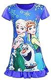 WNQY Little Girls Princess Pajamas Toddler Nightgown Dress (Dark Blue,110/3-4Y)