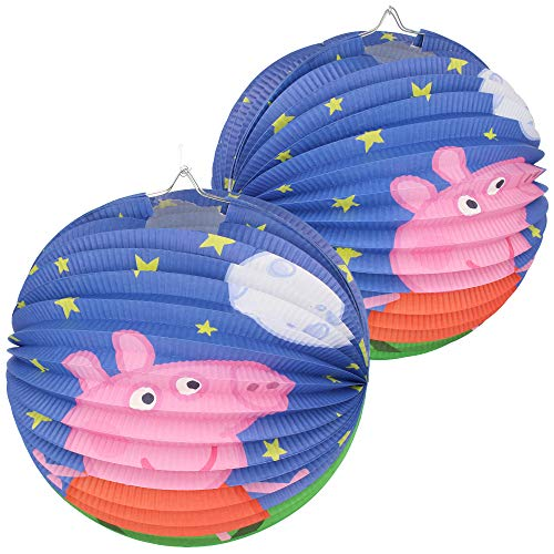com-four 2X Ballon-Laterne für Sankt Martin und Halloween - Papierlaterne mit Motiv aus der Fernsehserie Peppa Pig - Martinslaterne für Kinder