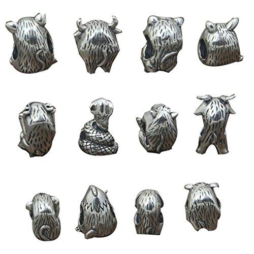 Plata de Ley perlas de símbolo chino para pulsera Europea, rata buey tigre conejo dragón serpiente...